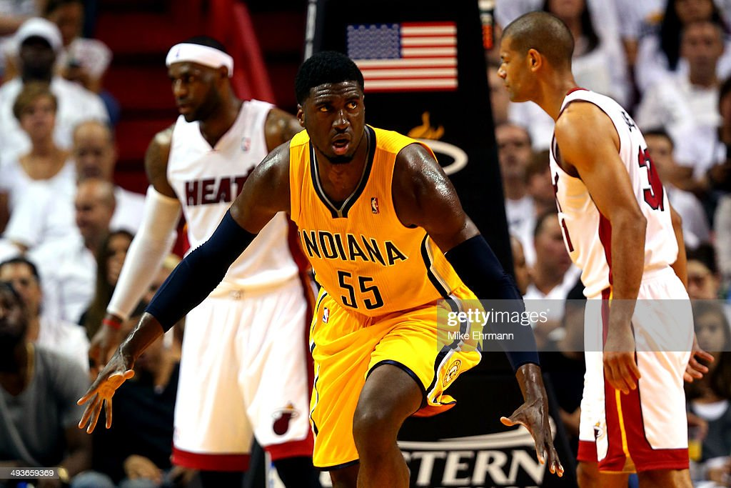 <a gi-track='captionPersonalityLinkClicked' href=/galleries/search?phrase=Roy+Hibbert&family=editorial&specificpeople=725128 ng-click='$event.stopPropagation()'>Roy Hibbert</a> #55 of the Indiana Pacers reacts after a play against the Miami Heat in the first period during Game Three of the Eastern Conference Finals of the 2014 NBA Playoffs at American Airlines Arena on May 24, 2014 in Miami, Florida.