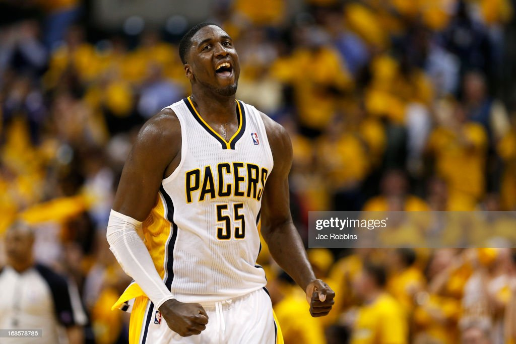 <a gi-track='captionPersonalityLinkClicked' href=/galleries/search?phrase=Roy+Hibbert&family=editorial&specificpeople=725128 ng-click='$event.stopPropagation()'>Roy Hibbert</a> #55 of the Indiana Pacers reacts against the New York Knicks during game three of the Eastern Conference Semifinals of the 2013 NBA Playoffs at Bankers Life Fieldhouse on May 11, 2013 in Indianapolis, Indiana. The Pacers won 82-71.