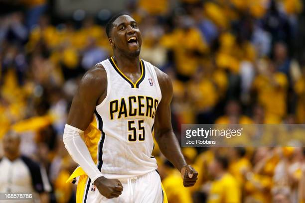 Roy Hibbert of the Indiana Pacers reacts against the New York Knicks during game three of the Eastern Conference Semifinals of the 2013 NBA Playoffs...