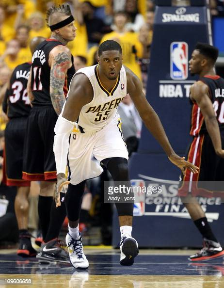 Roy Hibbert of the Indiana Pacers reacts in the secon dhalf against the Miami Heat during Game Four of the Eastern Conference Finals of the 2013 NBA...