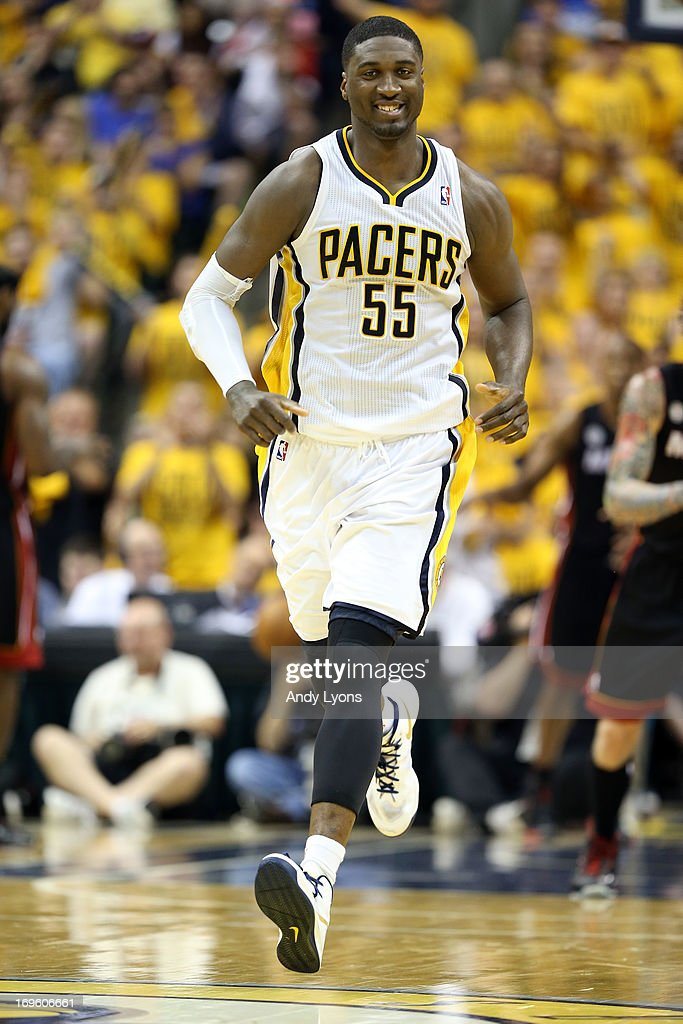 Roy Hibbert #55 of the Indiana Pacers reacts in the secon dhalf against the Miami Heat during Game Four of the Eastern Conference Finals of the 2013 NBA Playoffs at Bankers Life Fieldhouse on May 28, 2013 in Indianapolis, Indiana.