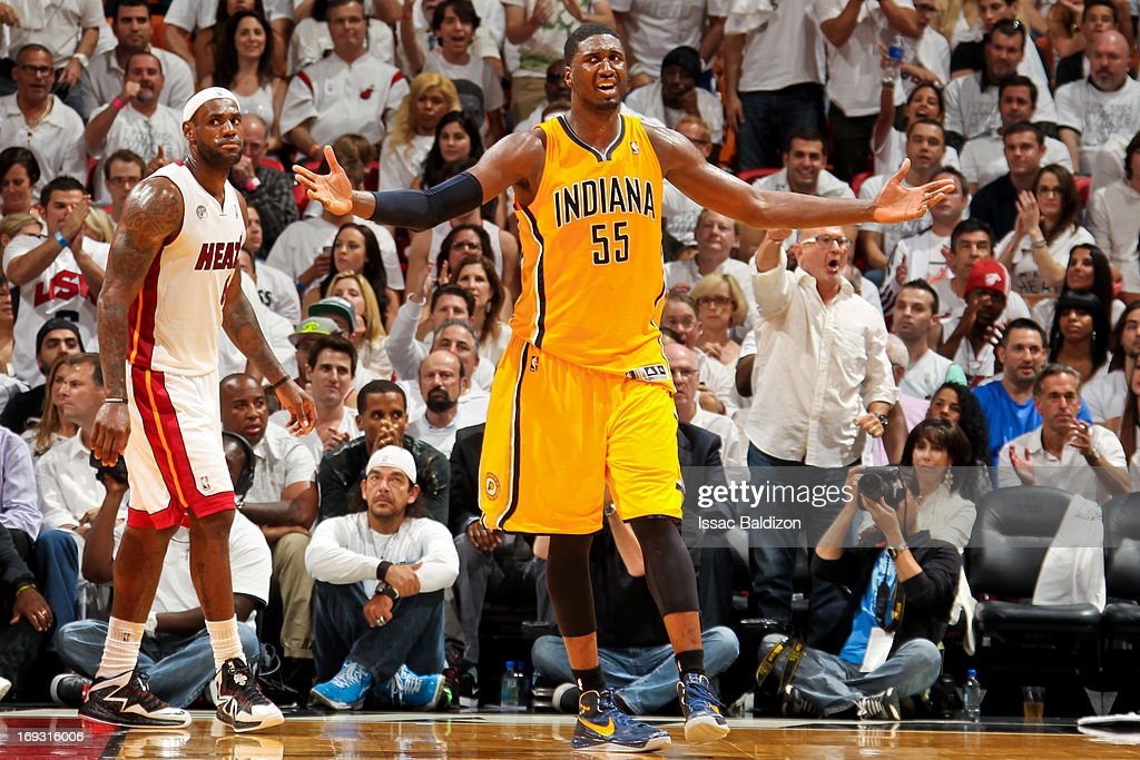 Roy Hibbert #55 of the Indiana Pacers reacts while playing the Miami Heat in Game One of the Eastern Conference Finals during the 2013 NBA Playoffs on May 22, 2013 at American Airlines Arena in Miami, Florida.