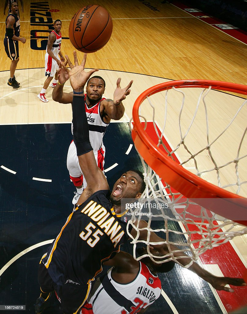Roy Hibbert #55 of the Indiana Pacers rebounds against Trevor Booker #35 of the Washington Wizards during the game at the Verizon Center on November 19, 2012 in Washington, DC.