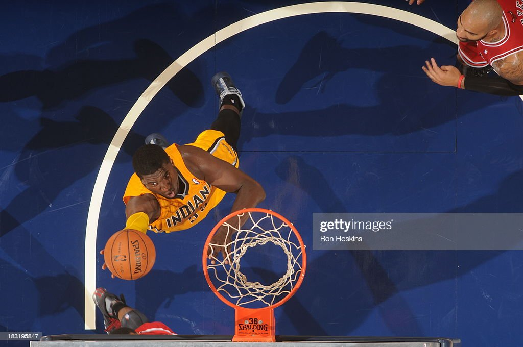 <a gi-track='captionPersonalityLinkClicked' href=/galleries/search?phrase=Roy+Hibbert&family=editorial&specificpeople=725128 ng-click='$event.stopPropagation()'>Roy Hibbert</a> #55 of the Indiana Pacers shoots a layup against the Chicago Bulls at Bankers Life Fieldhouse on October 5, 2013 in Indianapolis, Indiana.