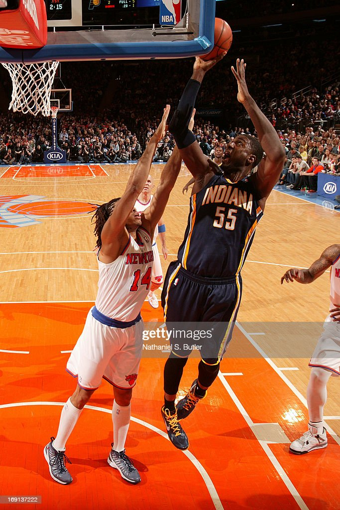 <a gi-track='captionPersonalityLinkClicked' href=/galleries/search?phrase=Roy+Hibbert&family=editorial&specificpeople=725128 ng-click='$event.stopPropagation()'>Roy Hibbert</a> #55 of the Indiana Pacers shoots against <a gi-track='captionPersonalityLinkClicked' href=/galleries/search?phrase=Chris+Copeland&family=editorial&specificpeople=833969 ng-click='$event.stopPropagation()'>Chris Copeland</a> #14 of the New York Knicks on April 14, 2013 at Madison Square Garden in New York City.