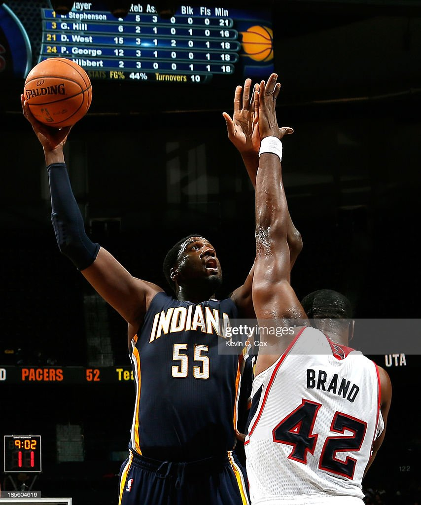 <a gi-track='captionPersonalityLinkClicked' href=/galleries/search?phrase=Roy+Hibbert&family=editorial&specificpeople=725128 ng-click='$event.stopPropagation()'>Roy Hibbert</a> #55 of the Indiana Pacers shoots against <a gi-track='captionPersonalityLinkClicked' href=/galleries/search?phrase=Elton+Brand&family=editorial&specificpeople=201501 ng-click='$event.stopPropagation()'>Elton Brand</a> #42 of the Atlanta Hawks at Philips Arena on October 22, 2013 in Atlanta, Georgia.