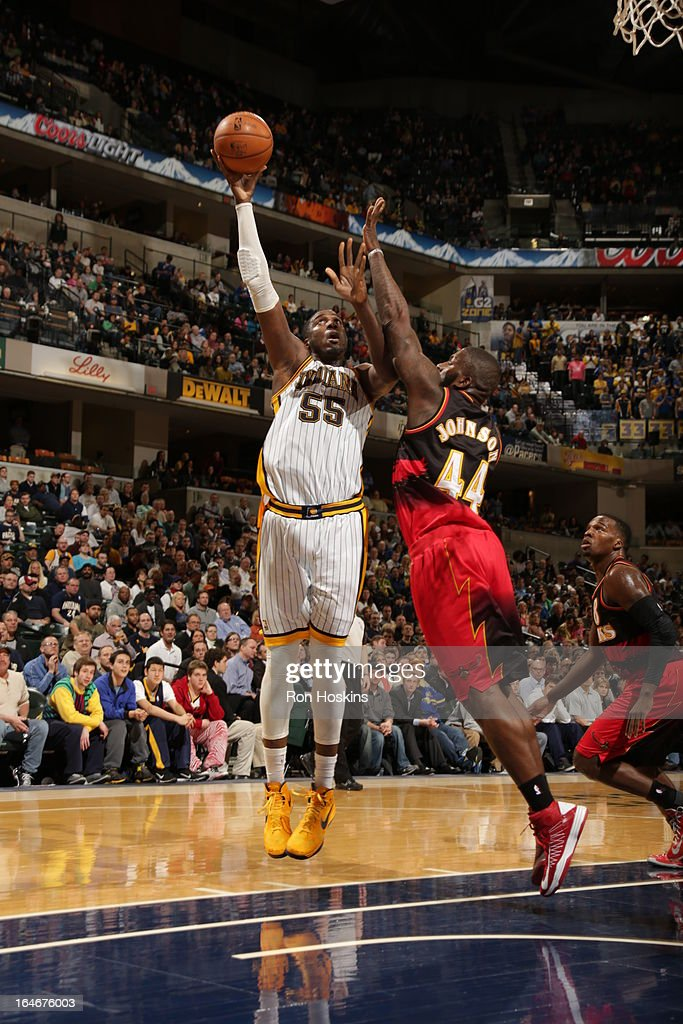 Roy Hibbert #55 of the Indiana Pacers shoots against Ivan Johnson #44 of the Atlanta Hawks on March 25, 2013 at Bankers Life Fieldhouse in Indianapolis, Indiana.