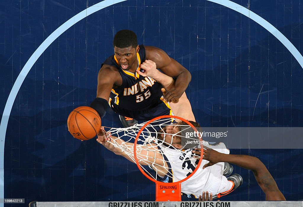 Roy Hibbert #55 of the Indiana Pacers shoots against Marc Gasol #33 of the Memphis Grizzlies on January 21, 2013 at FedExForum in Memphis, Tennessee.
