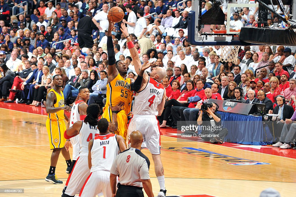 <a gi-track='captionPersonalityLinkClicked' href=/galleries/search?phrase=Roy+Hibbert&family=editorial&specificpeople=725128 ng-click='$event.stopPropagation()'>Roy Hibbert</a> #55 of the Indiana Pacers shoots against <a gi-track='captionPersonalityLinkClicked' href=/galleries/search?phrase=Marcin+Gortat&family=editorial&specificpeople=589986 ng-click='$event.stopPropagation()'>Marcin Gortat</a> #4 of the Washington Wizards in Game Six of the Eastern Conference Semifinals on May 15, 2014 at the Verizon Center in Washington, D.C.