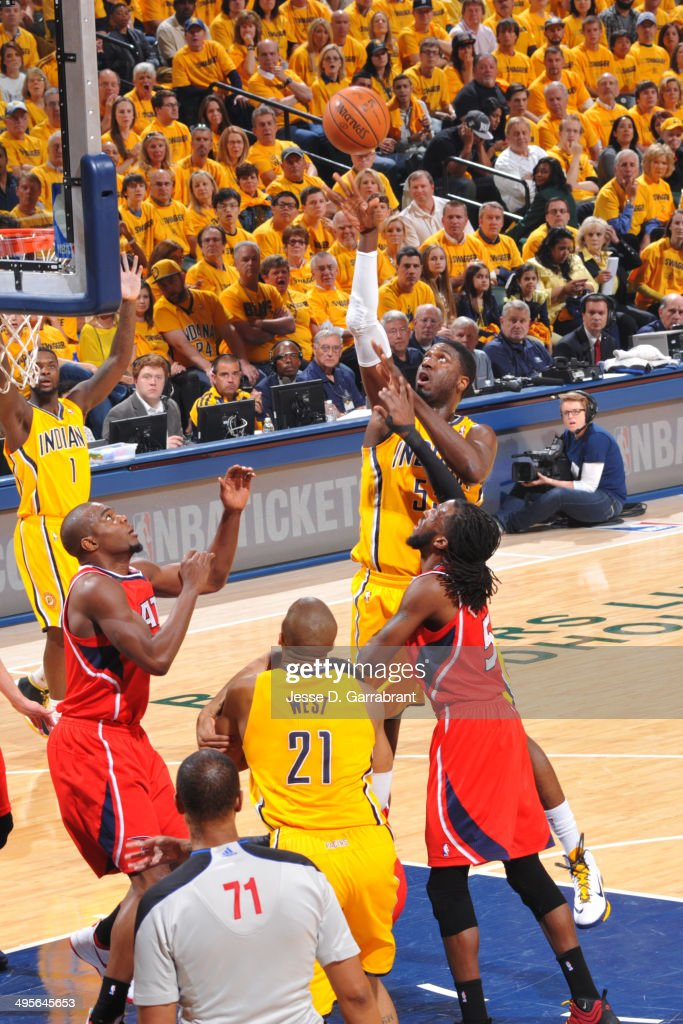 Roy Hibbert #55 of the Indiana Pacers shoots against the Atlanta Hawks in Game Seven of the Eastern Conference Quarterfinals during the 2014 NBA Playoffs on May 3, 2014 at Bankers Life Fieldhouse in Indianapolis, Indiana.