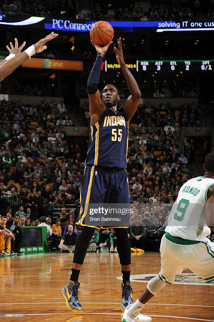 Roy Hibbert #55 of the Indiana Pacers shoots against the Boston Celtics on January 4, 2013 at the TD Garden in Boston, Massachusetts.