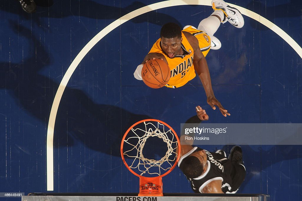 Roy Hibbert #55 of the Indiana Pacers shoots against the Brooklyn Nets at Bankers Life Fieldhouse on February 1, 2014 in Indianapolis, Indiana.
