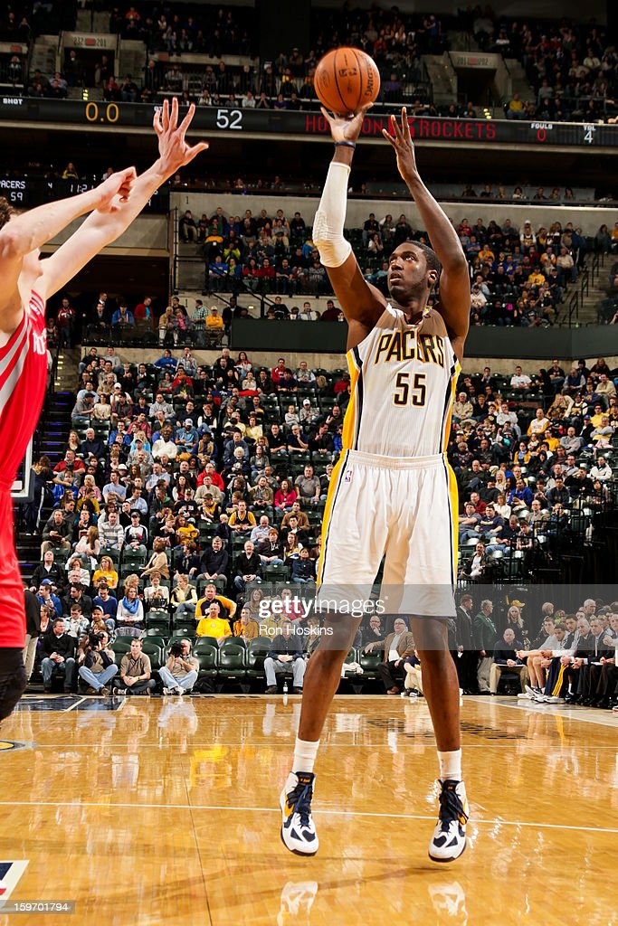 Roy Hibbert #55 of the Indiana Pacers shoots against the Houston Rockets on January 18, 2013 at Bankers Life Fieldhouse in Indianapolis, Indiana.