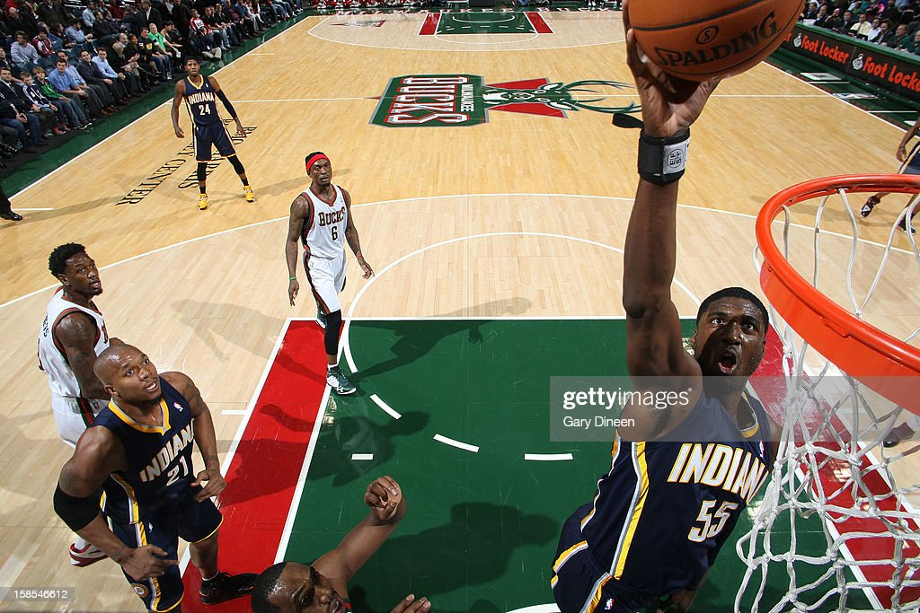 <a gi-track='captionPersonalityLinkClicked' href=/galleries/search?phrase=Roy+Hibbert&family=editorial&specificpeople=725128 ng-click='$event.stopPropagation()'>Roy Hibbert</a> #55 of the Indiana Pacers shoots against the Milwaukee Bucks during the game on December 18, 2012 at the BMO Harris Bradley Center in Milwaukee, Wisconsin.