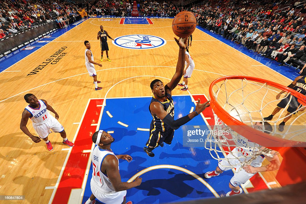 Roy Hibbert #55 of the Indiana Pacers shoots against the Philadelphia 76ers during the game at the Wells Fargo Center on February 6, 2013 in Philadelphia, Pennsylvania.