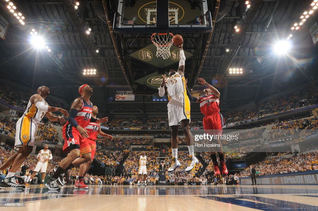 <a gi-track='captionPersonalityLinkClicked' href=/galleries/search?phrase=Roy+Hibbert&family=editorial&specificpeople=725128 ng-click='$event.stopPropagation()'>Roy Hibbert</a> #55 of the Indiana Pacers shoots against the Washington Wizards in Game Two of the Eastern Conference Semi-Finals during the 2014 NBA Plaoffs at Bankers Life Fieldhouse on May 7, 2014 in Indianapolis, Indiana.