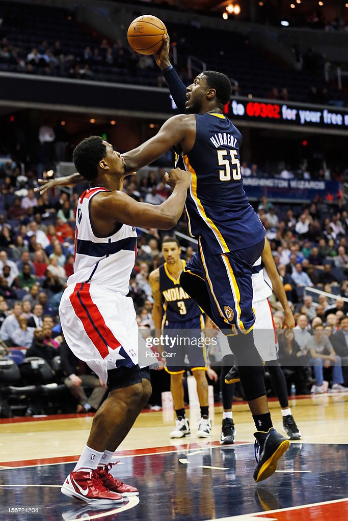 Roy Hibbert #55 of the Indiana Pacers shoots over Kevin Seraphin #13 of the Washington Wizards during the second half at Verizon Center on November 19, 2012 in Washington, DC.