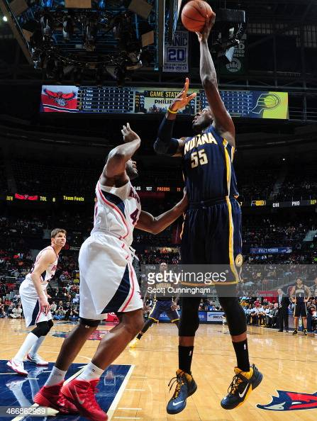 Roy Hibbert of the Indiana Pacers shoots the ball against the Atlanta Hawks on February 4 2014 at Philips Arena in Atlanta Georgia NOTE TO USER User...