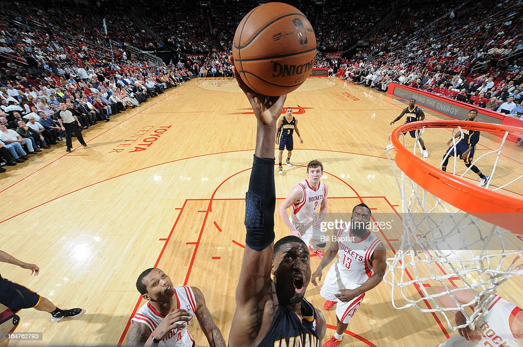 Roy Hibbert #55 of the Indiana Pacers shoots the ball against the Houston Rockets on March 27, 2013 at the Toyota Center in Houston, Texas.