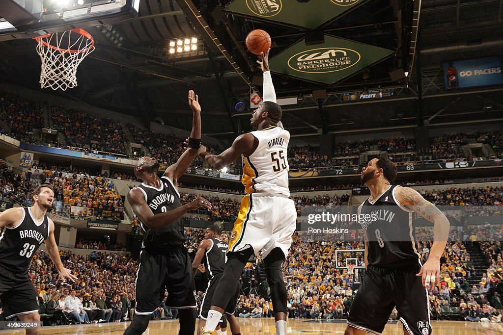 <a gi-track='captionPersonalityLinkClicked' href=/galleries/search?phrase=Roy+Hibbert&family=editorial&specificpeople=725128 ng-click='$event.stopPropagation()'>Roy Hibbert</a> #55 of the Indiana Pacers shoots the ball against the Brooklyn Nets at Bankers Life Fieldhouse on December 28, 2013 in Indianapolis, Indiana.