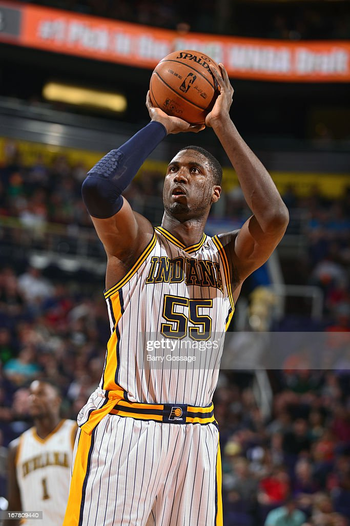 <a gi-track='captionPersonalityLinkClicked' href=/galleries/search?phrase=Roy+Hibbert&family=editorial&specificpeople=725128 ng-click='$event.stopPropagation()'>Roy Hibbert</a> #55 of the Indiana Pacers shoots the ball against the Phoenix Suns on March 30, 2013 at U.S. Airways Center in Phoenix, Arizona.