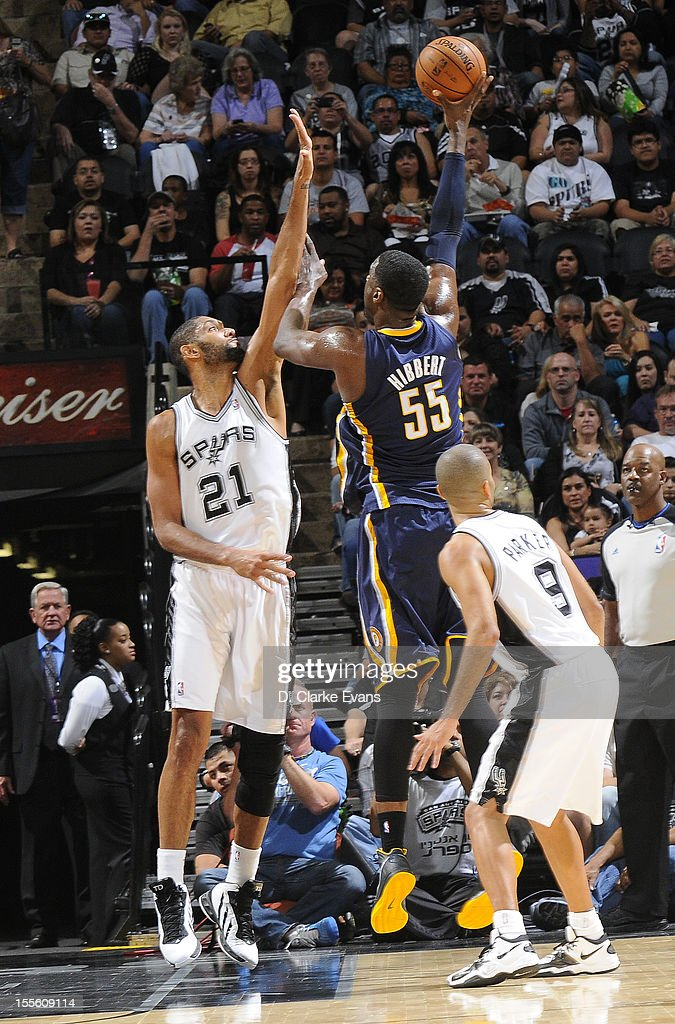 Roy Hibbert #55 of the Indiana Pacers shoots the ball against Tim Duncan #21 of the San Antonio Spurs during the game between the Indiana Pacers and the San Antonio Spurs on November 5, 2012 at the AT&T Center in San Antonio, Texas.