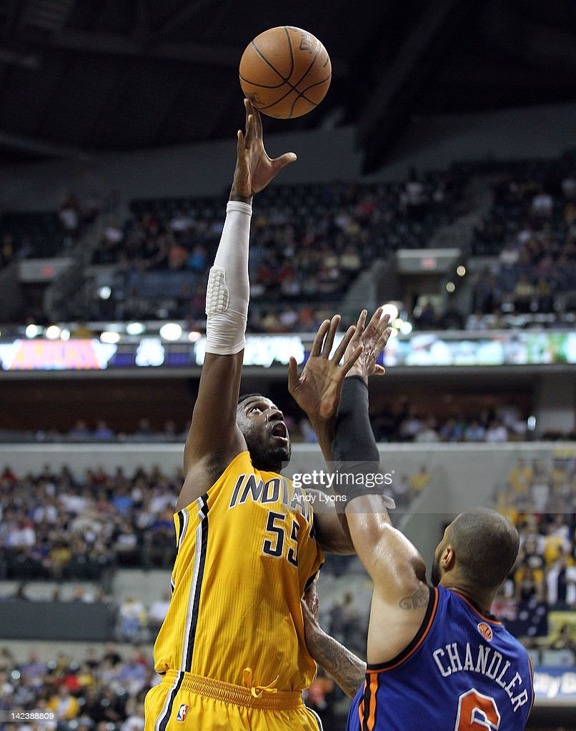 <a gi-track='captionPersonalityLinkClicked' href=/galleries/search?phrase=Roy+Hibbert&family=editorial&specificpeople=725128 ng-click='$event.stopPropagation()'>Roy Hibbert</a> #55 of the Indiana Pacers shoots the ball during the NBA game against the New York Knicks at Bankers Life Fieldhouse on April 3, 2012 in Indianapolis, Indiana.