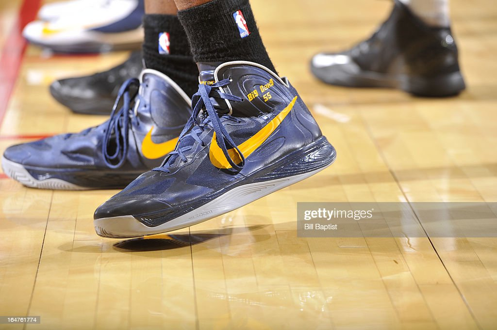 Roy Hibbert #55 of the Indiana Pacers shows off his sneakers during the game against the Houston Rockets on March 27, 2013 at the Toyota Center in Houston, Texas.