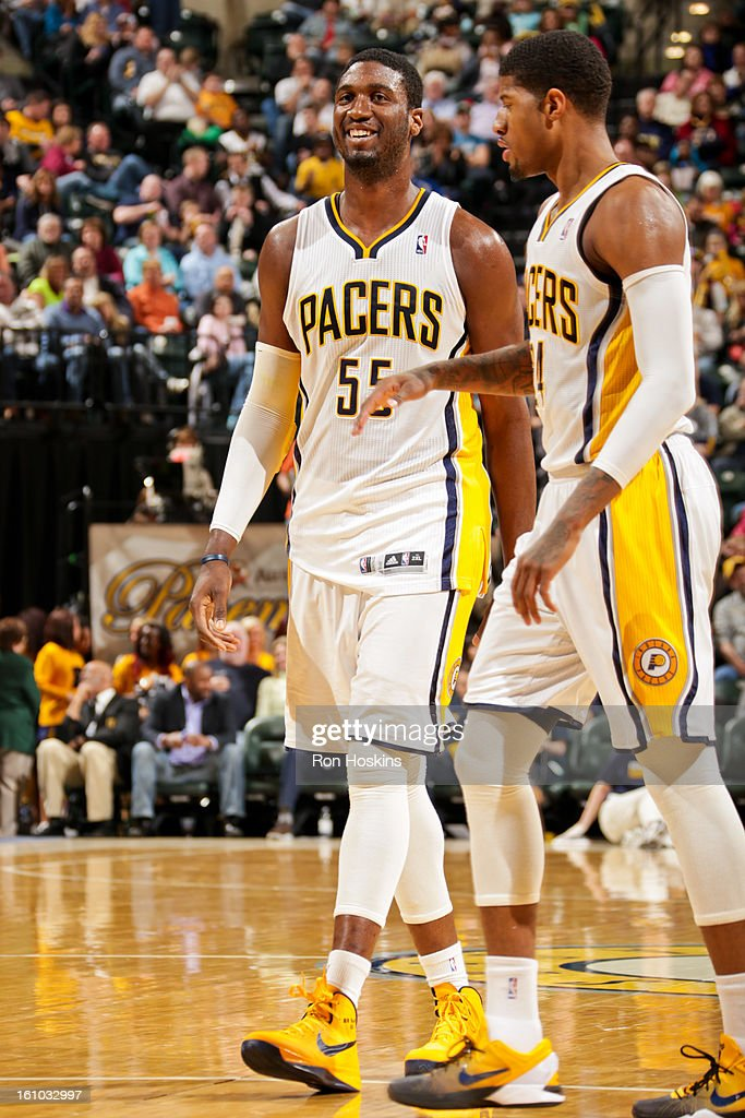 Roy Hibbert #55 of the Indiana Pacers smiles during a game against the Toronto Raptors on February 8, 2013 at Bankers Life Fieldhouse in Indianapolis, Indiana.