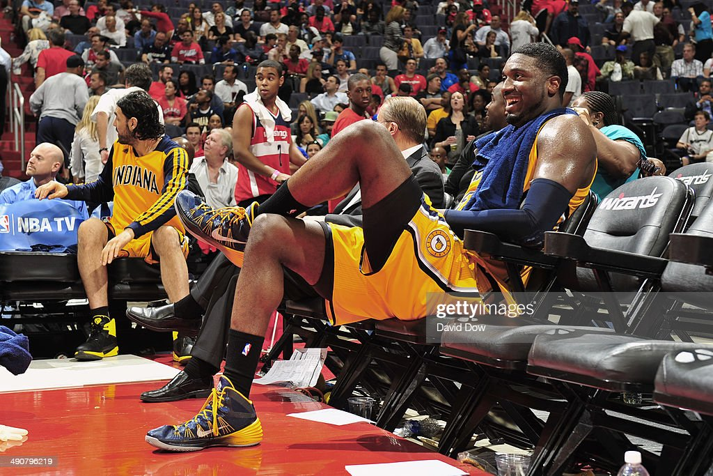 <a gi-track='captionPersonalityLinkClicked' href=/galleries/search?phrase=Roy+Hibbert&family=editorial&specificpeople=725128 ng-click='$event.stopPropagation()'>Roy Hibbert</a> #55 of the Indiana Pacers smiles on the bench against the Washington Wizards during Game Three of the Eastern Conference Semifinals on May 9, 2014 in Washington, DC.