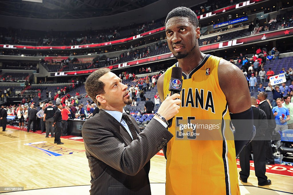 <a gi-track='captionPersonalityLinkClicked' href=/galleries/search?phrase=Roy+Hibbert&family=editorial&specificpeople=725128 ng-click='$event.stopPropagation()'>Roy Hibbert</a> #55 of the Indiana Pacers speaks to Chris Broussard of NBA TV after the game against the Washington Wizards Game Three of the Eastern Conference Semifinals on May 9, 2014 in Washington, DC.