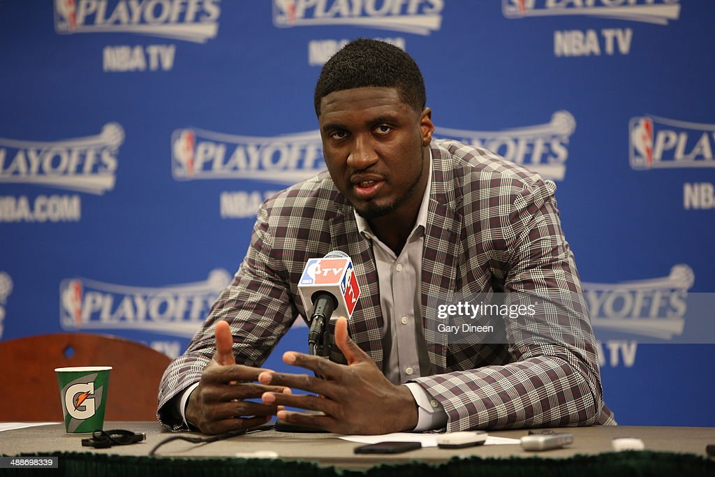 <a gi-track='captionPersonalityLinkClicked' href=/galleries/search?phrase=Roy+Hibbert&family=editorial&specificpeople=725128 ng-click='$event.stopPropagation()'>Roy Hibbert</a> #55 of the Indiana Pacers speaks to the media after a game against the Washington Wizards in Game Two of the Eastern Conference Semifinals of the 2014 NBA playoffs on May 7, 2014 at Bankers Life Fieldhouse in Indianapolis, Indiana.
