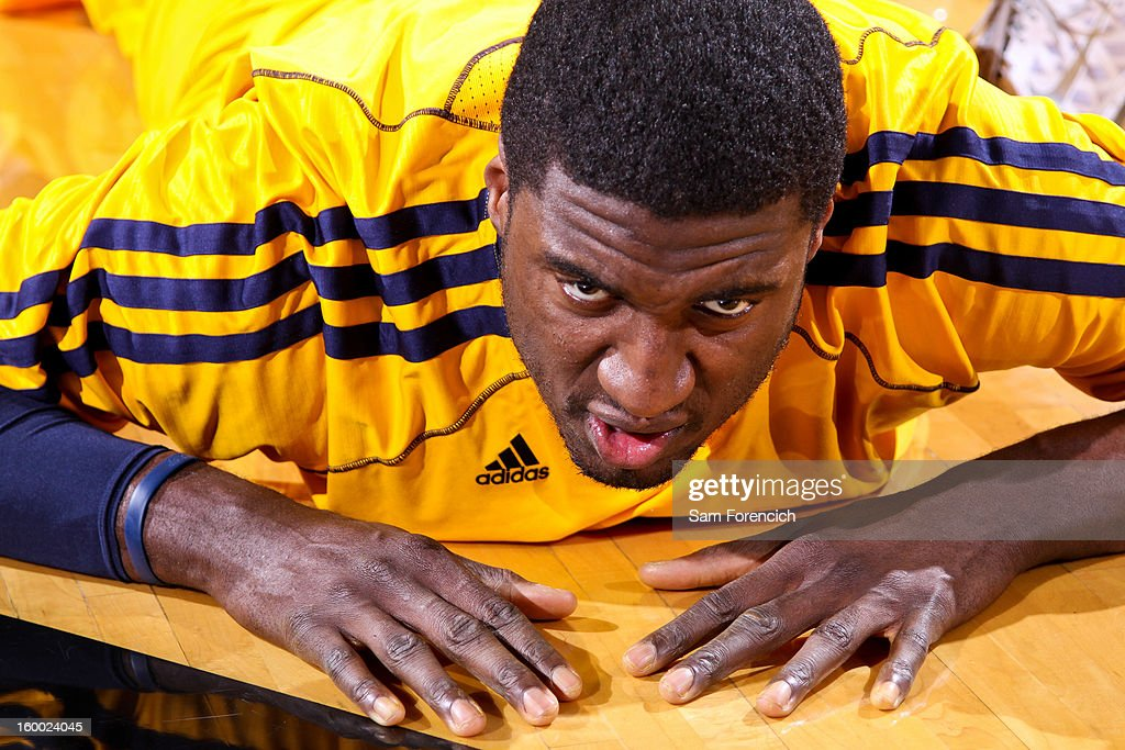 Roy Hibbert #55 of the Indiana Pacers stretches before playing against the Portland Trail Blazers on January 23, 2013 at the Rose Garden Arena in Portland, Oregon.