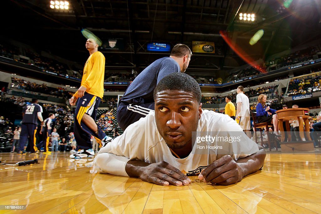 <a gi-track='captionPersonalityLinkClicked' href=/galleries/search?phrase=Roy+Hibbert&family=editorial&specificpeople=725128 ng-click='$event.stopPropagation()'>Roy Hibbert</a> #55 of the Indiana Pacers stretches before playing against the Atlanta Hawks in Game Five of the Eastern Conference Quarterfinals during the 2013 NBA Playoffs on May 1, 2013 at Bankers Life Fieldhouse in Indianapolis, Indiana.