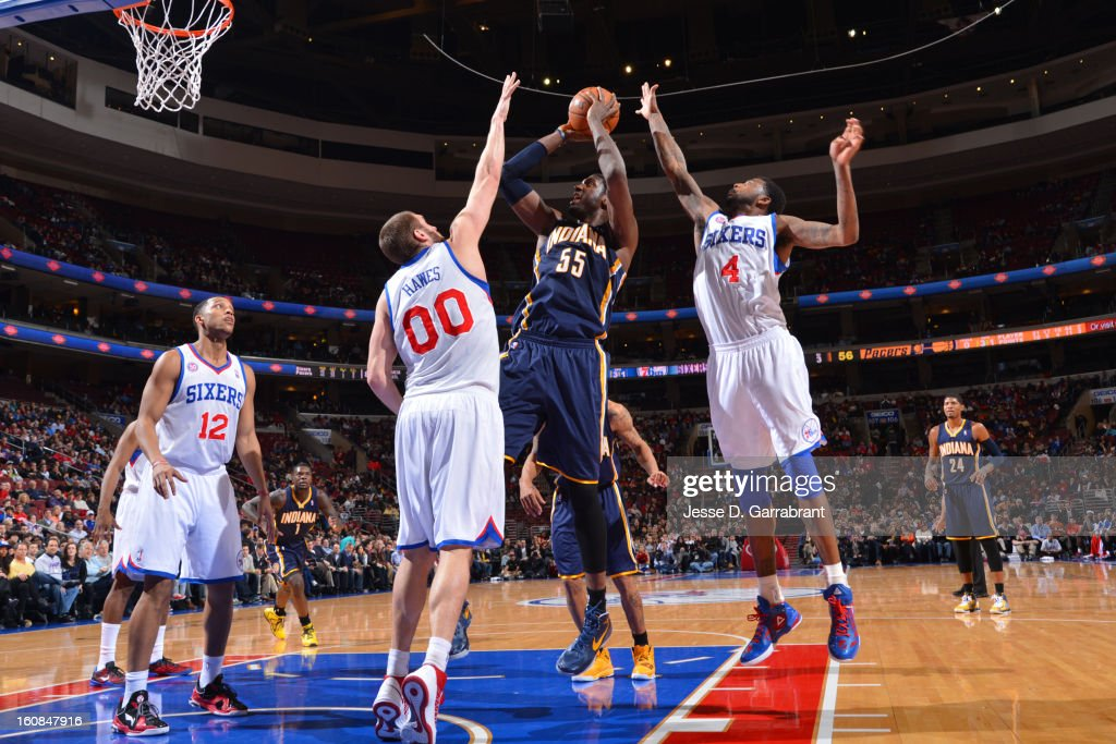 Roy Hibbert #55 of the Indiana Pacers takes a shot against the Philadelphia 76ers at the Wells Fargo Center on February 6, 2013 in Philadelphia, Pennsylvania.
