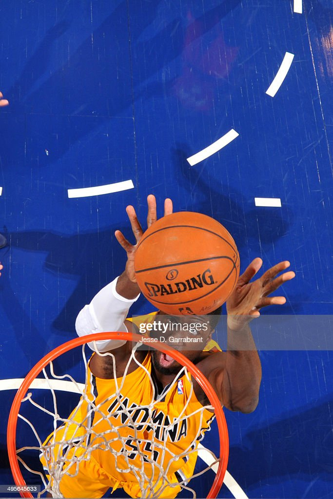 Roy Hibbert #55 of the Indiana Pacers tips in a shot against the Atlanta Hawks in Game Seven of the Eastern Conference Quarterfinals during the 2014 NBA Playoffs on May 3, 2014 at Bankers Life Fieldhouse in Indianapolis, Indiana.