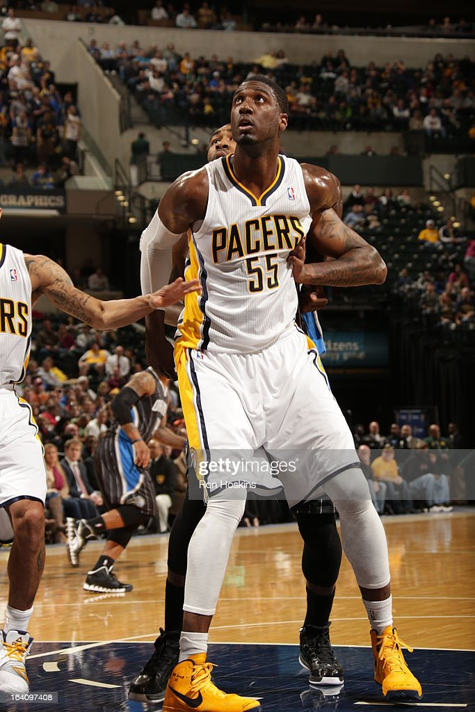 Roy Hibbert #55 of the Indiana Pacers waits for the rebound against the Orlando Magic on March 19, 2013 at Bankers Life Fieldhouse in Indianapolis, Indiana.
