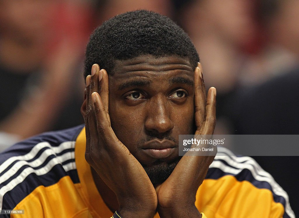 <a gi-track='captionPersonalityLinkClicked' href=/galleries/search?phrase=Roy+Hibbert&family=editorial&specificpeople=725128 ng-click='$event.stopPropagation()'>Roy Hibbert</a> #55 of the Indiana Pacers watches his teammates take on the Chicago Bulls from the bench in Game Five of the Eastern Conference Quarterfinals in the 2011 NBA Playoffs at the United Center on April 26, 2011 in Chicago, Illinois. The Bulls defeated the Pacers 116-89.