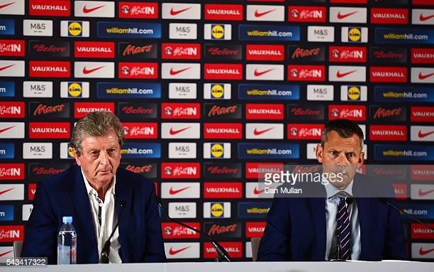 Roy Hodgson and Martin Glenn CEO of the FA speak during a press conference on June 28 2016 in Chantilly France