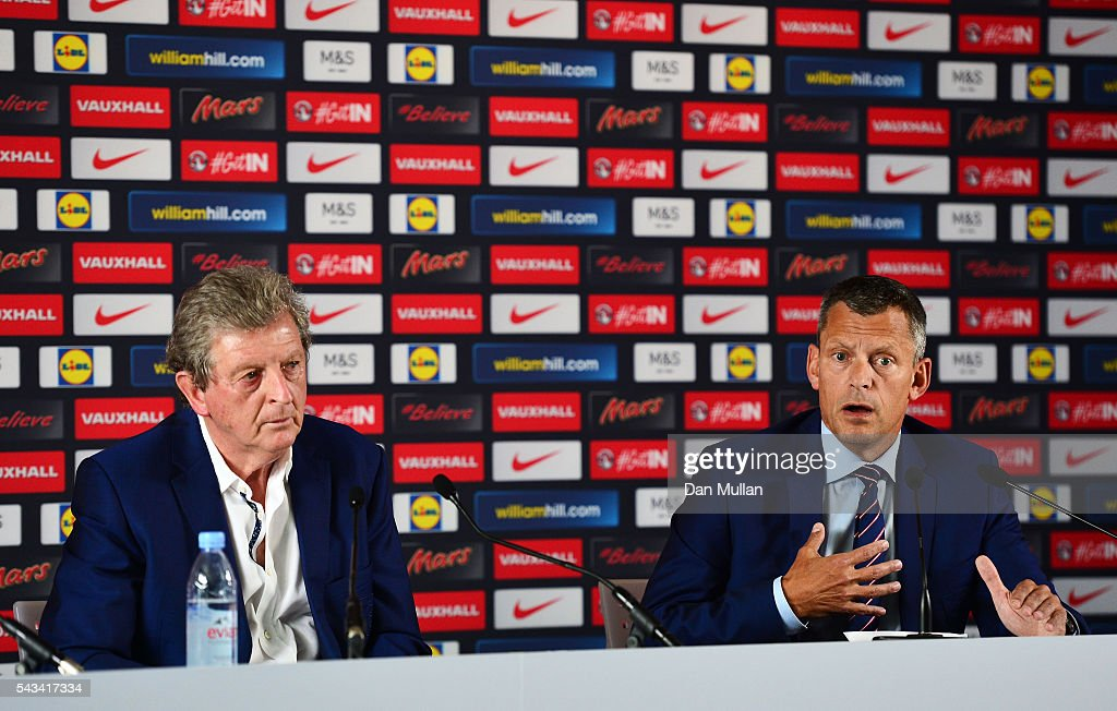 <a gi-track='captionPersonalityLinkClicked' href=/galleries/search?phrase=Roy+Hodgson&family=editorial&specificpeople=881703 ng-click='$event.stopPropagation()'>Roy Hodgson</a> (L) and <a gi-track='captionPersonalityLinkClicked' href=/galleries/search?phrase=Martin+Glenn&family=editorial&specificpeople=3632504 ng-click='$event.stopPropagation()'>Martin Glenn</a> (R), CEO of the FA speak during a press conference on June 28, 2016 in Chantilly, France.