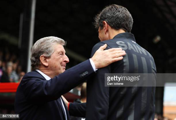 Roy Hodgson Manager of Crystal Palace and Mauricio Pellegrino Manager of Southampton shake hands prior to the Premier League match between Crystal...