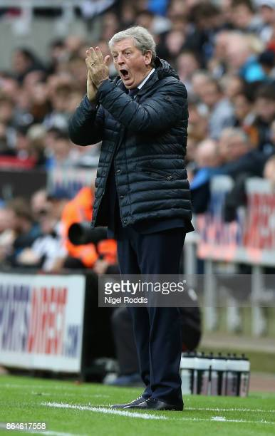 Roy Hodgson Manager of Crystal Palace reacts during the Premier League match between Newcastle United and Crystal Palace at St James Park on October...