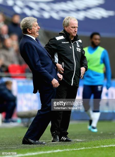 Roy Hodgson Manager of Crystal Palace reacts during the Premier League match between Tottenham Hotspur and Crystal Palace at Wembley Stadium on...
