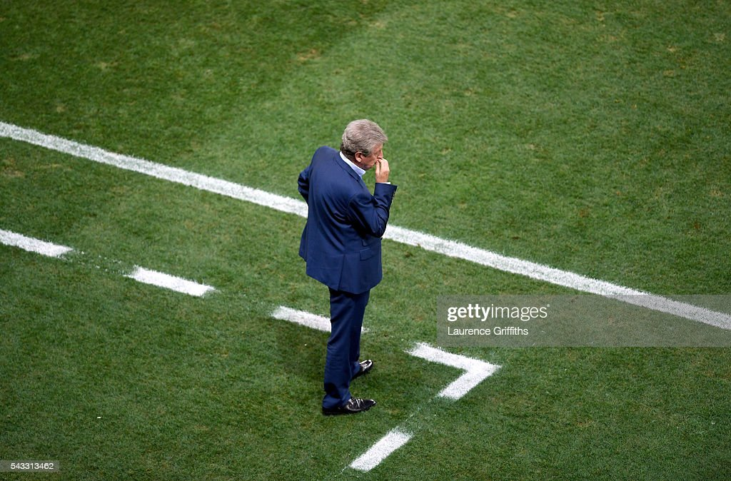 <a gi-track='captionPersonalityLinkClicked' href=/galleries/search?phrase=Roy+Hodgson&family=editorial&specificpeople=881703 ng-click='$event.stopPropagation()'>Roy Hodgson</a> manager of England looks on dejected during the UEFA EURO 2016 round of 16 match between England and Iceland at Allianz Riviera Stadium on June 27, 2016 in Nice, France.