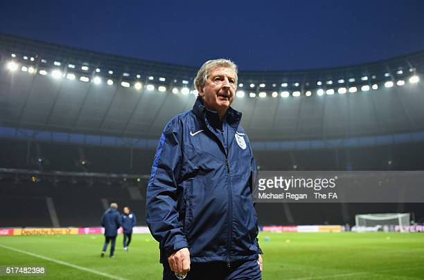 Roy Hodgson manager of England looks on during a training session prior to the International Friendly match against Germany at the Olympiastadion on...