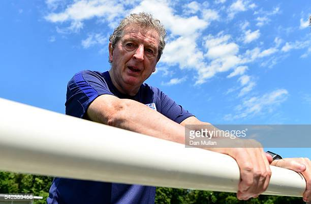 Roy Hodgson Manager of England looks on during a UEFA Euro 2016 training session at Stade du Bourgognes on June 23 2016 in Chantilly France