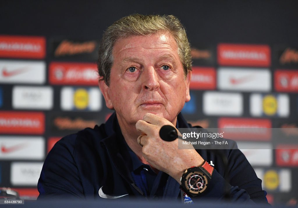 <a gi-track='captionPersonalityLinkClicked' href=/galleries/search?phrase=Roy+Hodgson&family=editorial&specificpeople=881703 ng-click='$event.stopPropagation()'>Roy Hodgson</a> manager of England looks on during an England press conference on the eve of their international friendly against Australia at the Hilton Gateshead on May 26, 2016 in Newcastle upon Tyne, England.