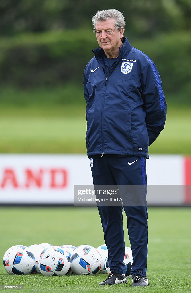 <a gi-track='captionPersonalityLinkClicked' href=/galleries/search?phrase=Roy+Hodgson&family=editorial&specificpeople=881703 ng-click='$event.stopPropagation()'>Roy Hodgson</a>, Manager of England looks on during an England training session at London Colney on May 30, 2016, near St Albans, England.