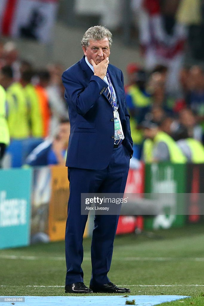 Roy Hodgson manager of England looks on during the UEFA EURO 2016 Group B match between England and Russia at Stade Velodrome on June 11, 2016 in Marseille, France.