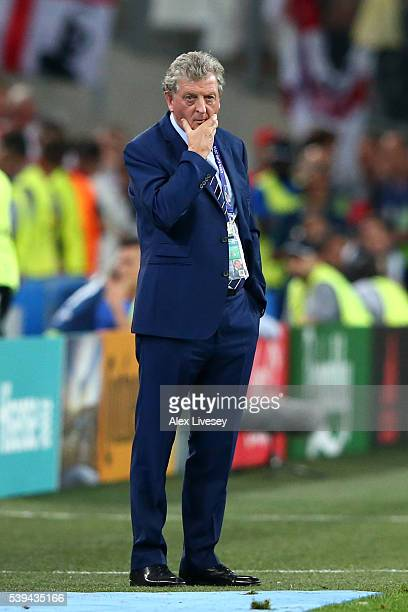 Roy Hodgson manager of England looks on during the UEFA EURO 2016 Group B match between England and Russia at Stade Velodrome on June 11 2016 in...